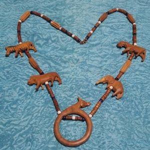 VTG Carved Wood Safari Animal Necklace